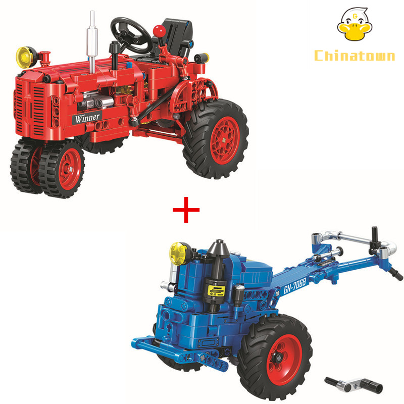 2 Pcs/Lot Technic Cropper Tractor Building Blocks Set Sets Bricks Model Kids Classic Toys Gifts For Children Compatible Legoings 2 sets lot