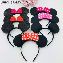 10pcs/lot Wholesale Minnie Mouse Ears Headband Black Red Pink Polka Dot Bow Birthday Party Favors Halloween Costume LUHONGPARTY недорого