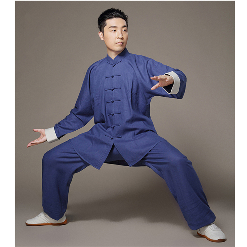 Taiji Linen Clothing Bruce Lee Vintage White Cuff Chinese Wing Chun Kung Fu Uniform Martial Arts Tai Chi Suits