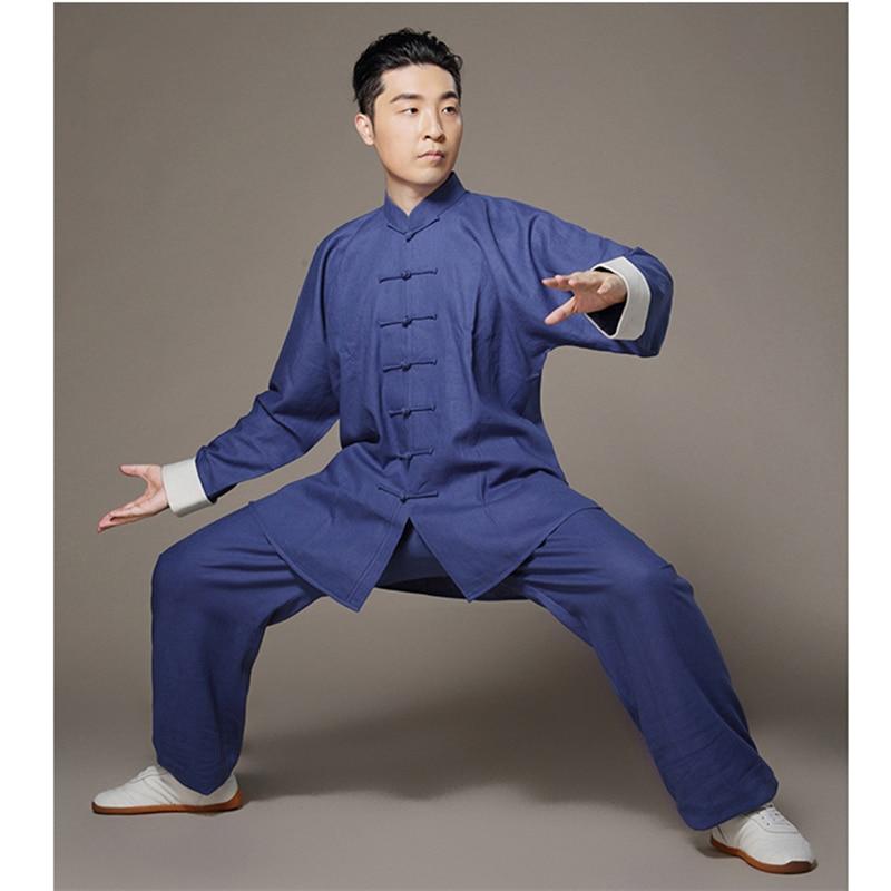 561a5e74580cc Taiji Linge Vêtements Bruce Lee Vintage Blanc Manchette Chinois wing chun  Kung Fu Uniforme D arts martiaux Tai Chi Costumes