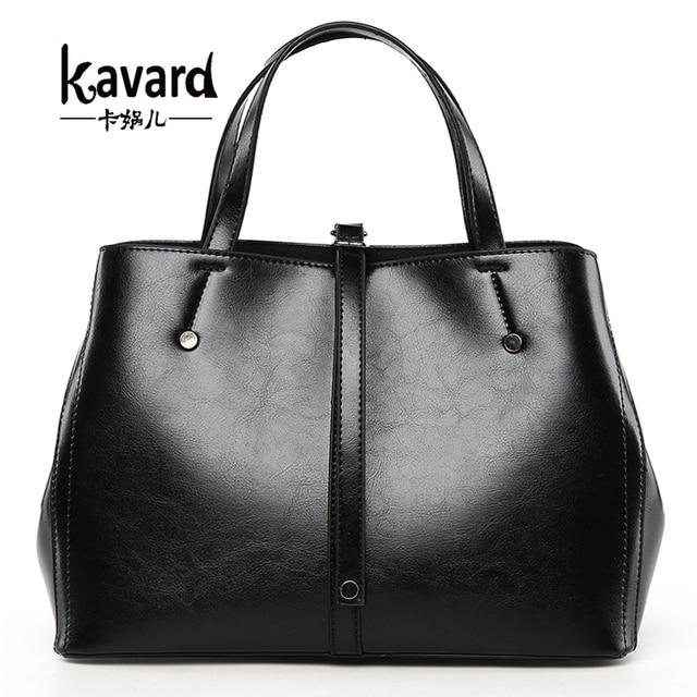 cdeeb18d8f Kavard marque sac femmes sacs à main de luxe Designer noir huile cire PU  cuir grands