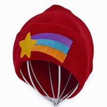Gravity Falls Girls Women Winter Warm Hat Dipper Mabel Pines Red Knit Beanie Shooting Star Anmation Nice Red Knitted Caps цена