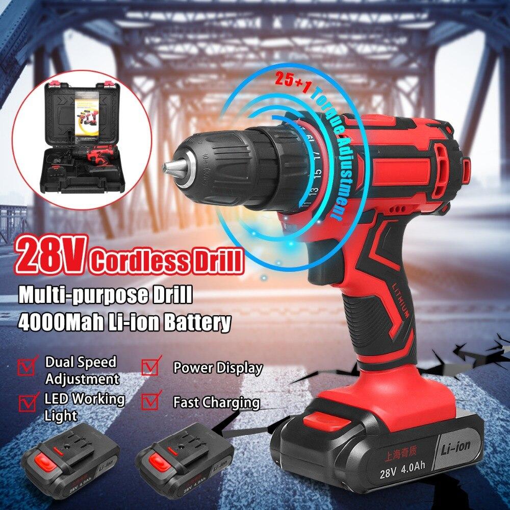 Perceuse électrique sans fil 28 V 3/8 ''tournevis Rechargeable perceuse électrique outils électriques avec 1 outil électrique au Lithium-batterie