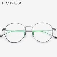 FONEX Pure B Titanium Glasses Frame Women Ultralight Prescription Eyeglasses Men Round Spectacles Myopia Optical Eyewear 862