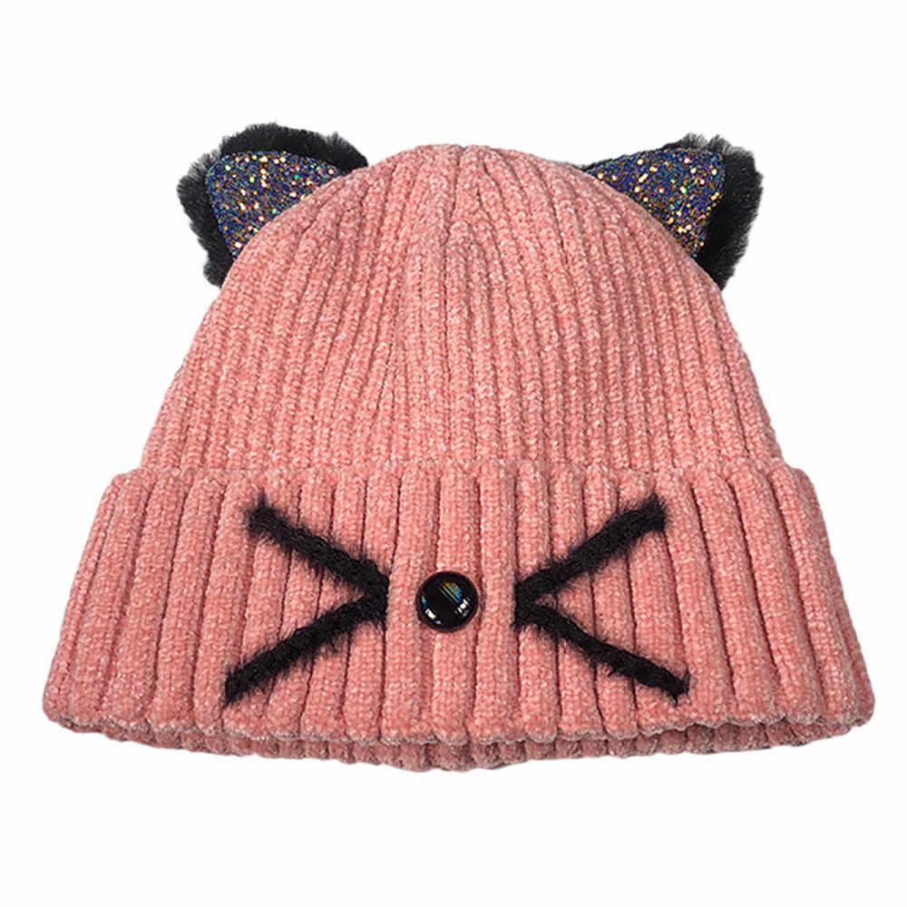 KANCOOLD Women Fashion Keep Warm Cat Ear Winter Hats Crochet Knitted Wool Hemming Hat Ski Beanie Skull Slouchy Caps PJ1006