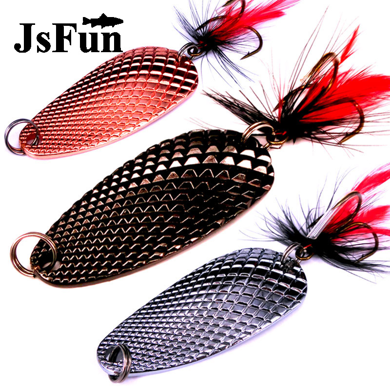 Hot 1pc 23g 6cm Spoon fishing lure Metal Spinner Bait Armed With Feather Hooks Pike Trout Lure 3 Color Artificial Lures FU217 goture fishing trout spoon metal lure bass fishing spinner bait 7g 10g stainless mustad hooks with feather artificial bait