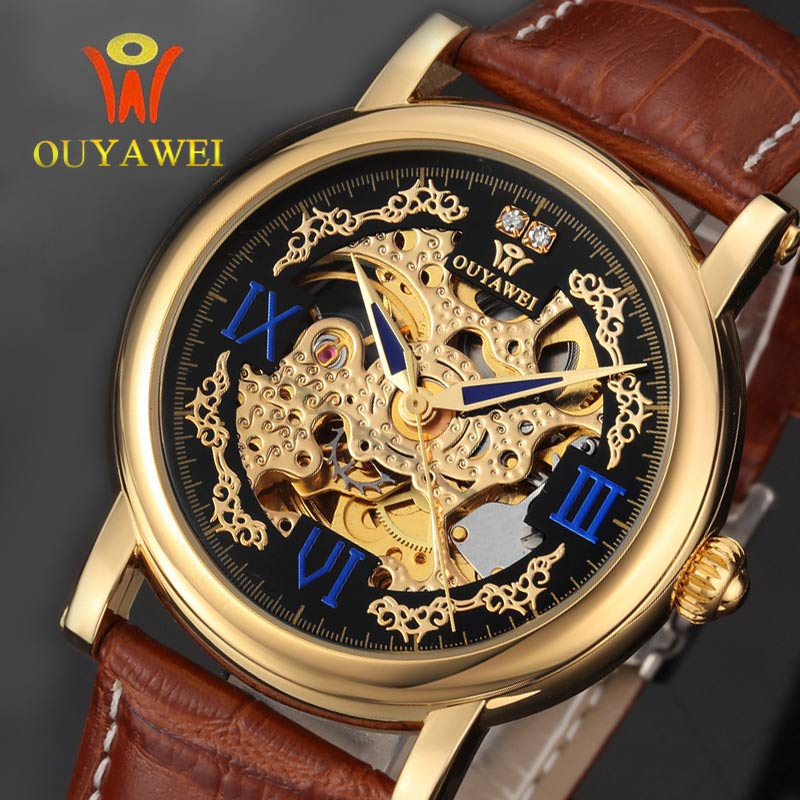 2017 Hot Sale Skeleton Hollow Fashion Mechanical Watch Men Luxury Male Business Leather Strap GOLD self-wind Wrist Watches Gift ks black skeleton gun tone roman hollow mechanical pocket watch men vintage hand wind clock fobs watches long chain gift ksp069