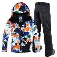 Новинка 2017 года; стильное платье принт Для мужчин лыжный костюм, куртка + брюки ветрозащитные Водонепроницаемый уличная спортивная одежда с