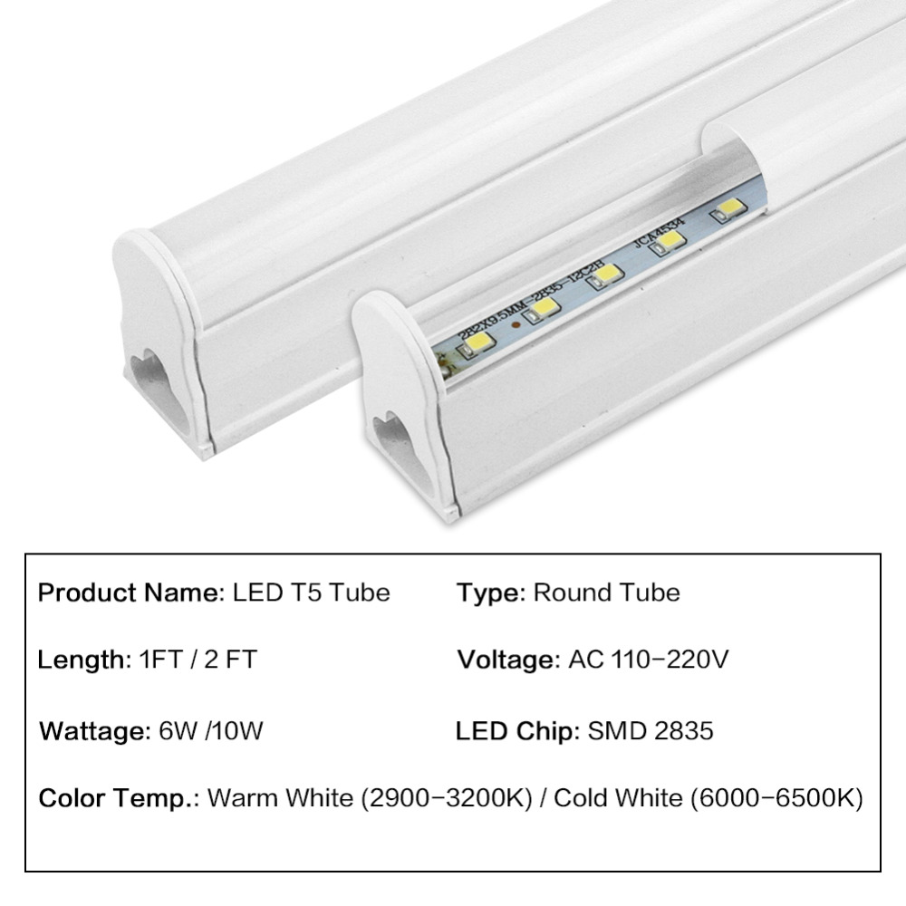 10 Packs LED Tube T5 Light 1FT 2FT LED Tube Wall Lamp Cold Integrated Warm White 110V 220V Bulb Light 6W 10W Lampara Ampoule brightinwd 110v 220v s14s s14d led light linestra integrated tube strip lamp mirror wall light powerful 3w 6w 10w 15w tube light