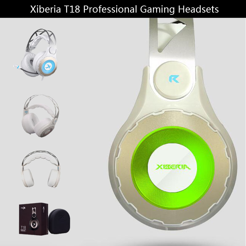 Xiberia T18 Gaming Headphones with Microphone 7.1 Surround Sound Game Headsets Earphones Glowing LED Light USB for PC Computer