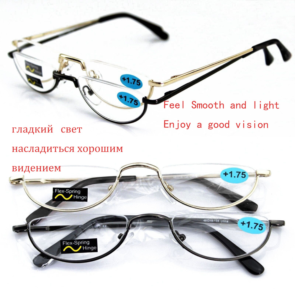 fe5f2a7d7c Agstum Half Rimless Eyeglasses Spring hinge Vintage Retro Round Reading  Glasses Reader +1 +1.5