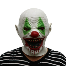Halloween Dark Knight big nose Clown Cosplay Headgear Bloody mouth with green eyes Horror Ghost Latex Mask Dress Up party