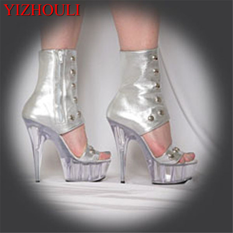 Sexy front strap cool boots 15cm high-heeled shoes female sandals Unusual High Heel Shoes fashion 6 inch high boots new trend women sandals sexy 6 inch high heel slipper appliques pretty girl clear shoes 15cm sexy high heeled crystal shoes