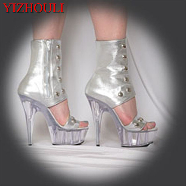 2e2592189ea US $57.67 21% OFF|Sexy front strap cool boots 15cm high heeled shoes female  sandals Unusual High Heel Shoes fashion 6 inch high boots-in Ankle Boots ...