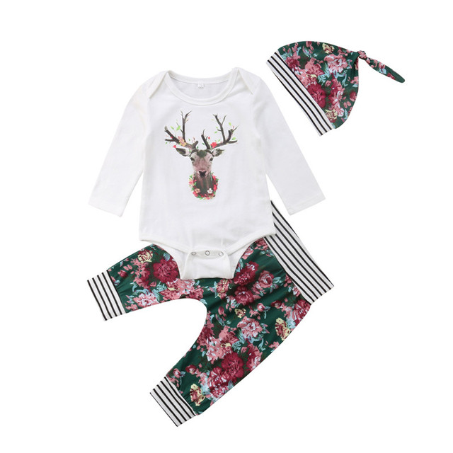e3c9d929 Newborn Baby Boys Girls Clothes Set Xmas Tops Long Sleeve Deer Bodysuits  Floral Pants Hat 3pcs Outfits Clothing Boy Girl 0-24M