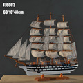 """1pcs 24"""" Classical.Ver Handmade wooden sailing boat model Mediterranean style for collection via EMS shipping."""