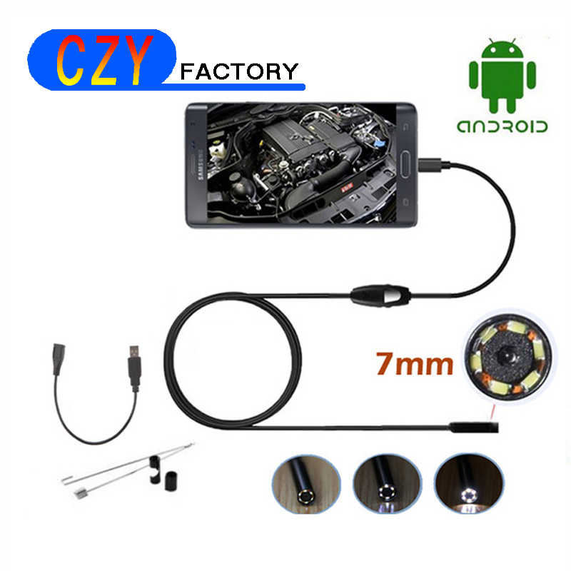 7mm Dia Android USB Endoscope Camera Cmos 1M Cable Waterproof 6led Borescope Micro Endoscope Inspection Tube