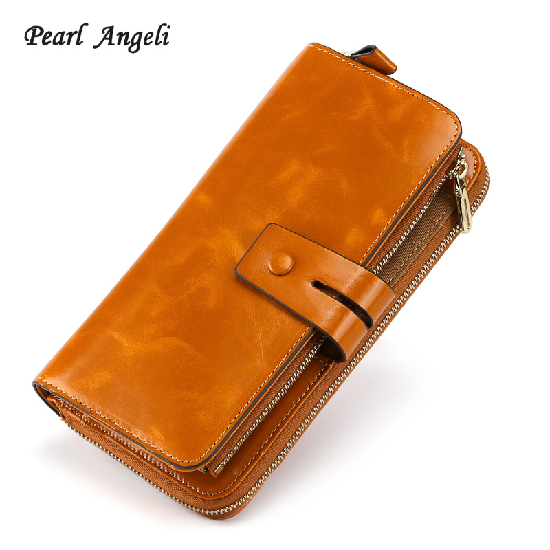 Pearl Angeli Women Men Long Wallets Genuine Leather Female Card Holder Coin Purse Phone Pocket Clutch Wallet Portefeuille Femme women purse solid color mini grind magic bifold leather wallet card holder clutch women handbag portefeuille femme dropshipping