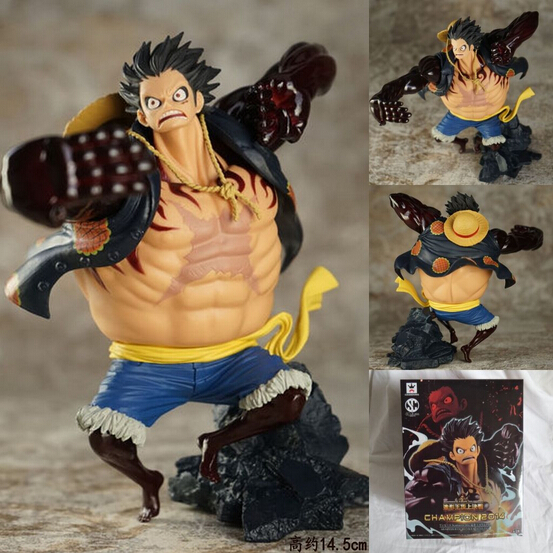 NEW hot 17cm One piece Gear fourth Monkey D Luffy action figure toys Christmas toy with box new hot 14cm one piece big mom charlotte pudding action figure toys christmas gift toy doll with box