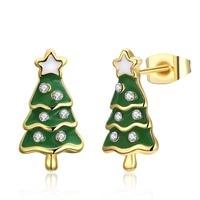 CHRISTMAS GIFT Green Tree Design Stud Earrings LKN18KRGPE1610 Girls Xmas Party Enamel Earring For Women 3