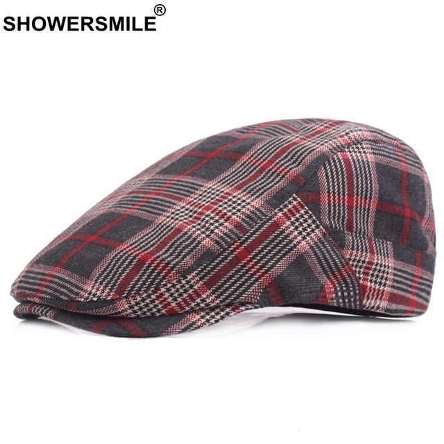SHOWERSMILE Red Beret Hats For Men Women Plaid Flat Caps Twill Cotton  Berets Male Classic British Style Vintage Adjustable Hats b19bbdab5c5