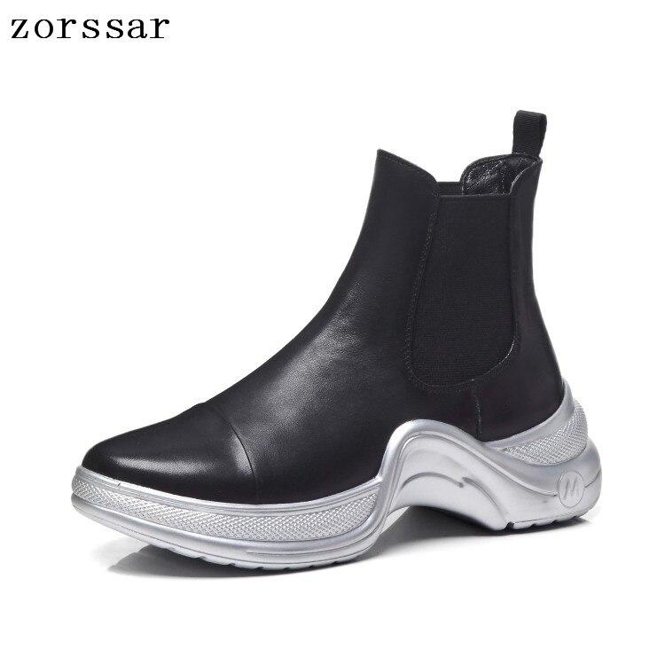 Chaussures Cuir Femmes Bottes D'hiver {zorssar Noir Maladroit Plate WYgffdqw