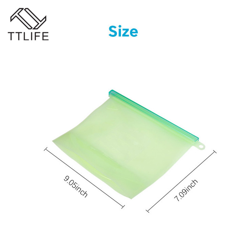 TTLIFE 1000ml Kitchen Food Sealing Storage Bag Reusable Refrigerator Fresh Bags Silicone Fruit Meat Ziplock Kitchen Organizer in Saran Wrap Plastic Bags from Home Garden