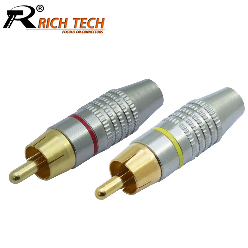 10pcs/lot RCA Connector Hot Selling RCA Male Plug Audio Cable Connector Gold Plated Screw Solder-Free Lotus Plug Wire Connector 10pcs metal spring rca plug audio male connector adapters gold plated g205m best quality