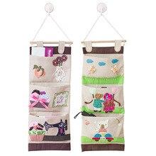 5 Pcs / Lot Creative Cartoon Hanging Wall Pocket Storage Organizer Bag  Cajas Organizadoras Door Hanging