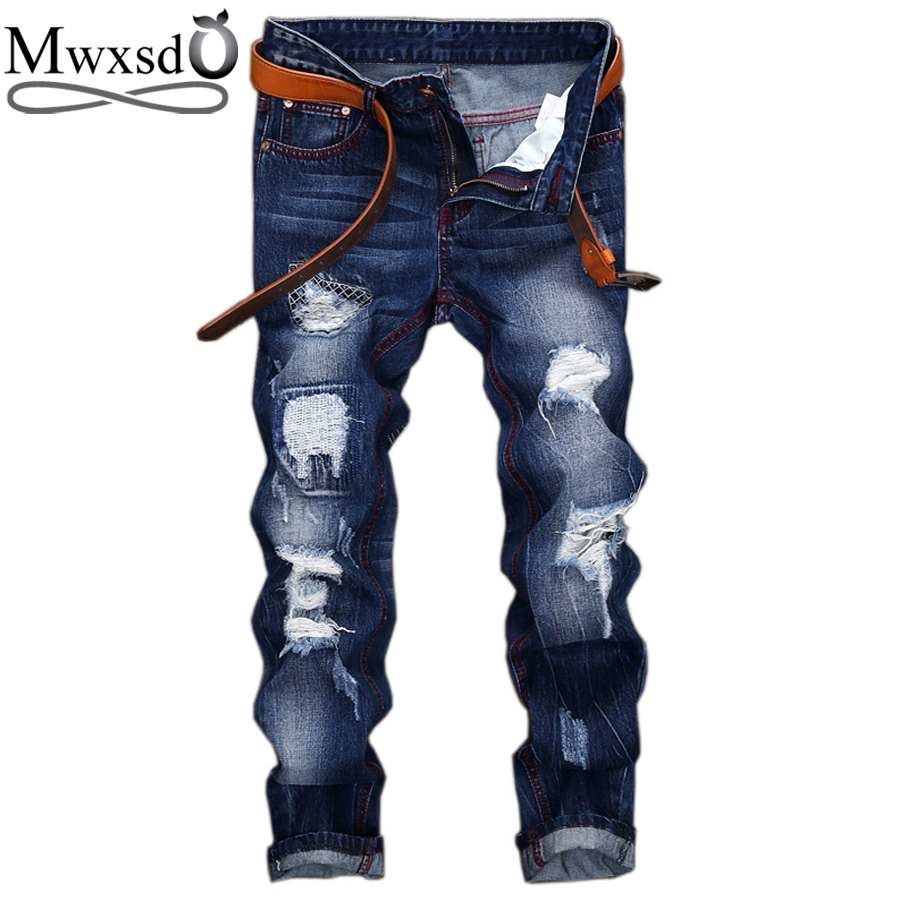 Mwxsd brand Casual Men's hole ripped jeans men cotton pants biker fashion pencil Jeans Destroyed male skinny Straight Pants 2017 new hiphop men hole jogger pants high quality casual destroyed skinny ruched jeans hole casual pants jogger rock jeans