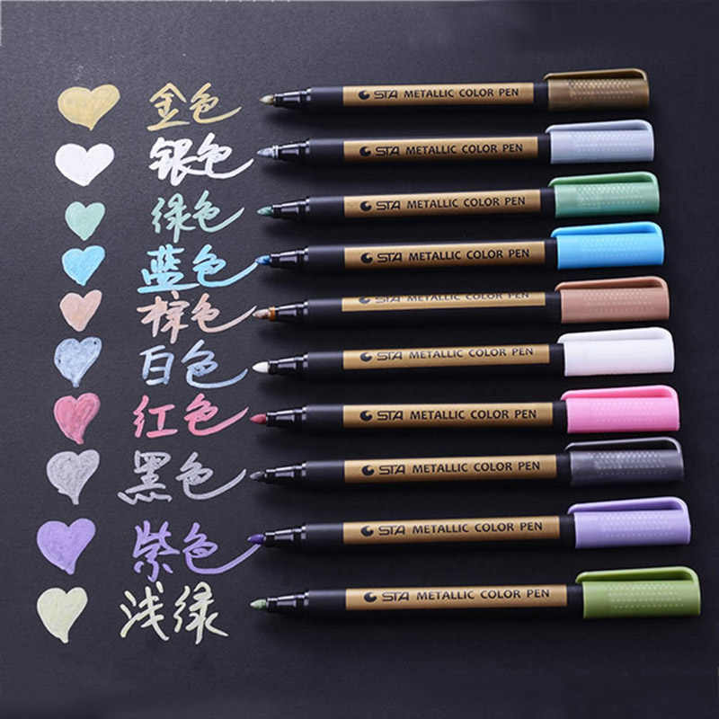 1pc Colored Highlighters Waterproof Permanent Metallic Marker Pens For White Paperboard Kraft Paper Photo Albums Diy Decorations