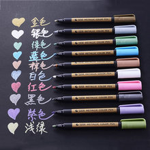 1pc Colored Highlighters Waterproof Permanent Metallic Marker Pens For White Paperboard Kraft Paper Photo Albums Diy Decorations(China)