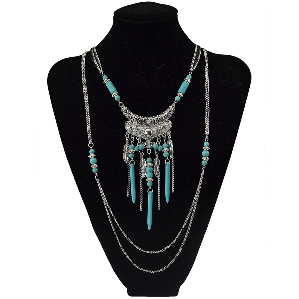 New Boho Multilayer Silver Plated Chain Necklace Vintage