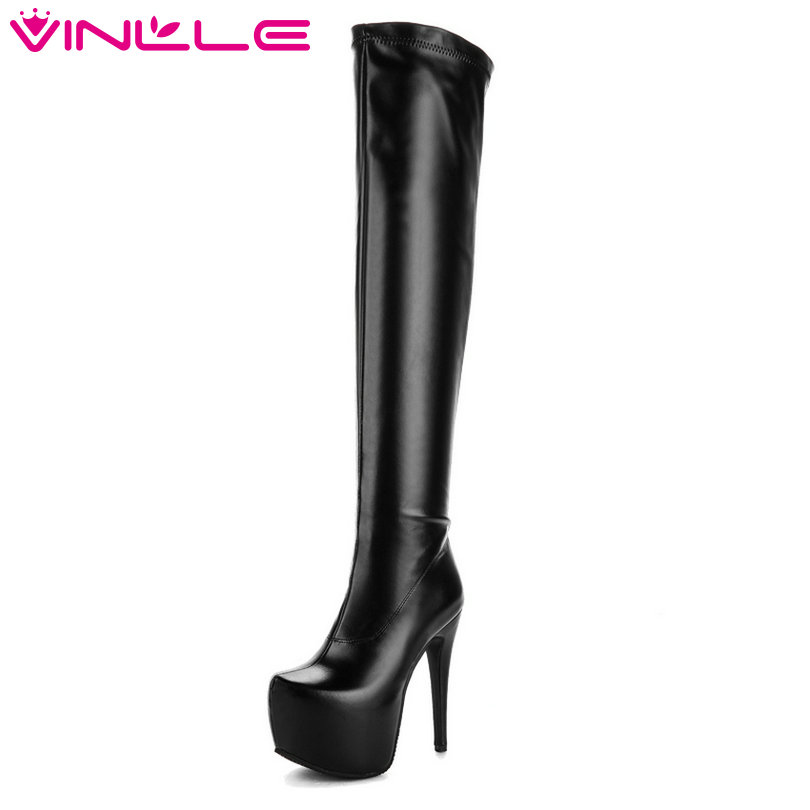 VINLLE 2018 Women Autumn Shoes A Black Square Med Heel Round Toe Western Style Ladies Motorcycle Shoes Size 34-43 vinlle 2017 women pumps college style square med heel vintage slip on pu leather shoes casual round toe girl shoes size 34 40