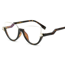 Peekaboo clear crystal half frame cat eye eye glasses women optical vintage black designer brand eyewear frames women ladies