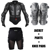 Motorcycle Body Armor Jackets Protection racing Jacket turtle + Protective Gears Motorcycle Shorts Pants + moto Knee Pads