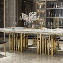 Набор столовой из нержавеющей стали Rama Dymasty, мебель для дома, современный мраморный обеденный стол и 8 стульев, прямоугольный стол