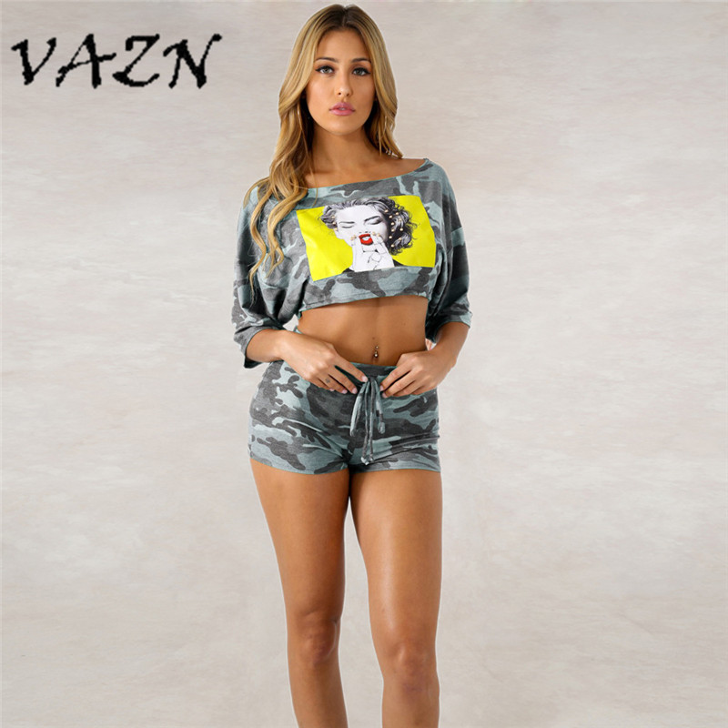 Women's Sets Vazn 2018 New Arrival High Fashion Casual 2 Piece Women Set Camouflage O-neck Half Sleeve Short Pants Bodycon Set 5060 Women's Clothing