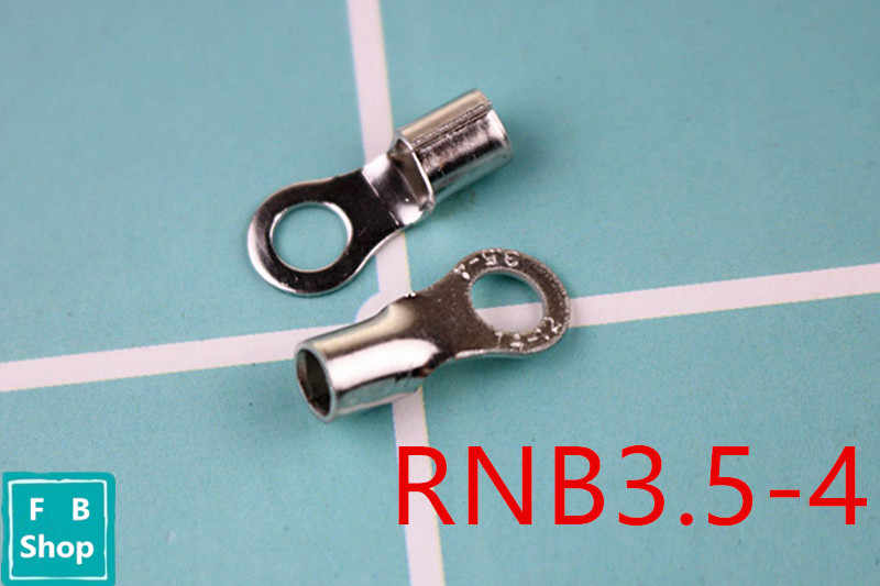Envío Gratis RNB3.5-4 AWG 14-12 conector de TERMINAL de anillo no aislado conector de TERMINAL de Cable de cobre sin aislamiento