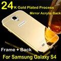 Case para Galaxy S4 luxo 2 em 1 Metal Frame de alumínio + espelho acrílico capa Case para samsung Galaxy S4 Shell telefone i9500