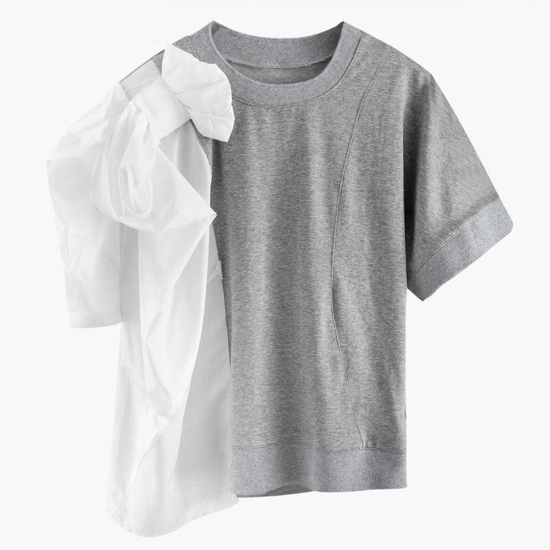 TVVOVVIN femmes t-shirt Patchwork à manches courtes été t-shirt irrégulier femmes t-shirts mode femmes été hauts V344