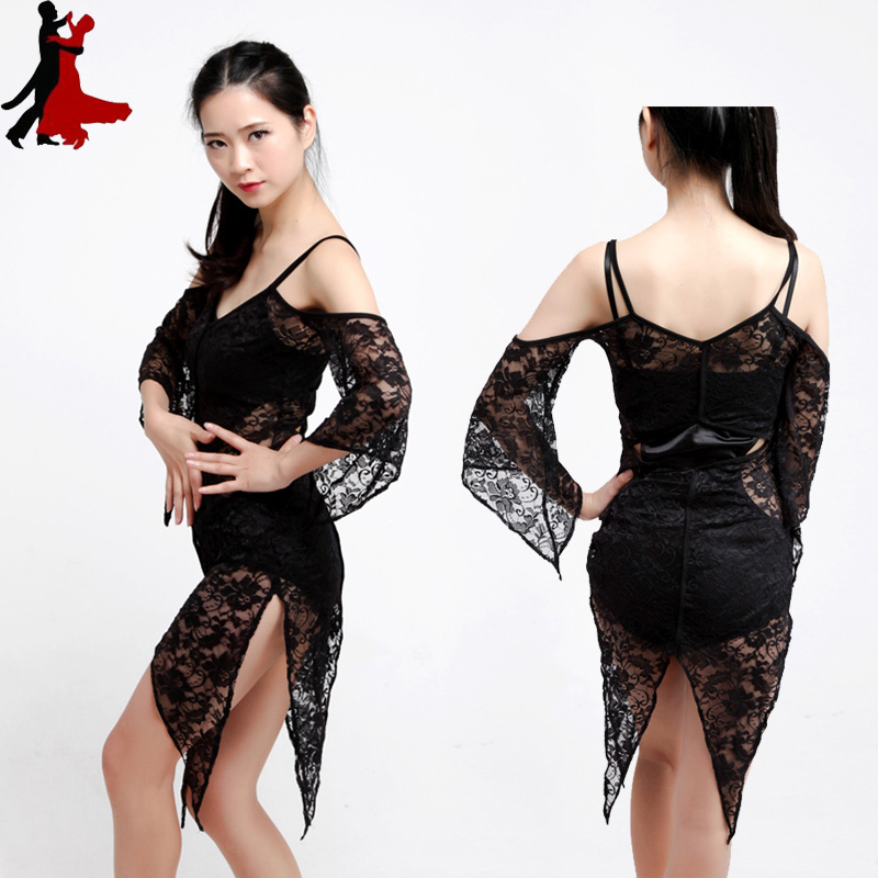 sexy lace perspective Latin dance dress practice performance clothing women freeshipping hot sale