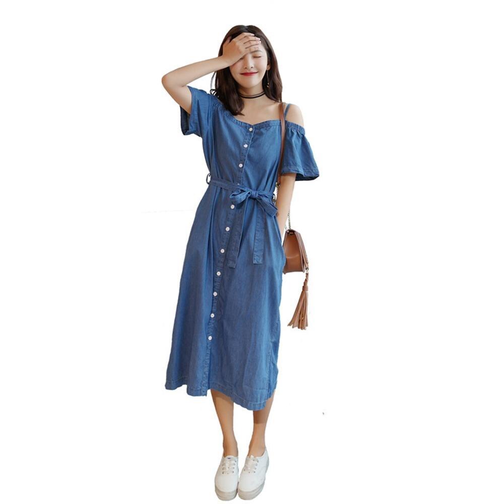 2018 New Arrival Autumn Slash Neck Off Shoulder Button Pocket Dress Bow Tie Denim Dresses For Female <font><b>Jeans</b></font> <font><b>Navy</b></font> Blue Dresses