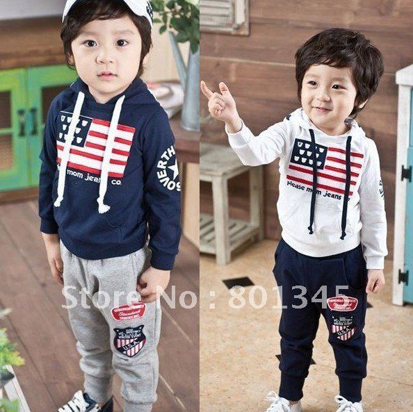 Free Shipping,1set,Spring autumn children wear,children sport set/suit,long sleeve T-shirt pant set,with hat,blue white color