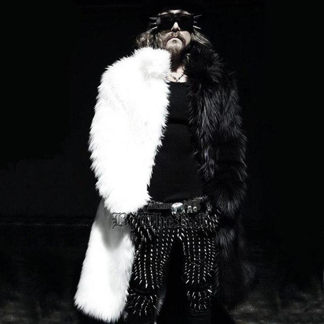 c62e4e1fd1f Mens long faux fur coats Splice winter Fox fur Fashion thickening lapel  Multi-size jackets