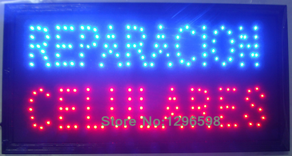 Hot sale reparacion celulares led sign customed 10X19 inch indoor Ultra Bright blue and red color of led signs