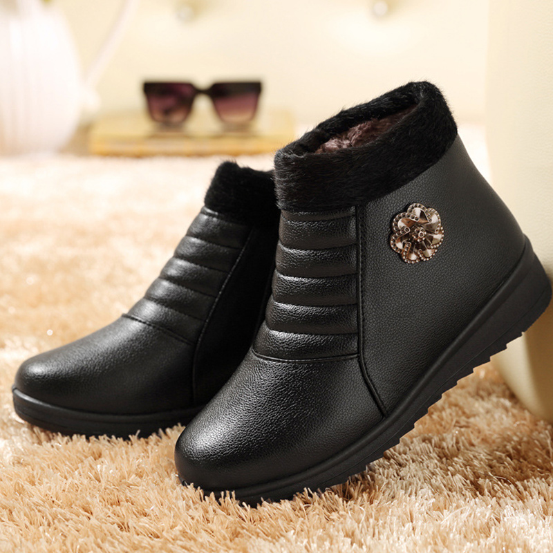 Warm fur winter shoes women waterproof snow boots large size 36-41 plush female boot solid black and brown boots