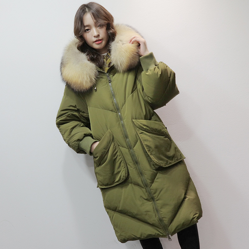2019 winter women's oversized white duck   down     coat   fur collar jacket long hooded thick South Korea loose pocket
