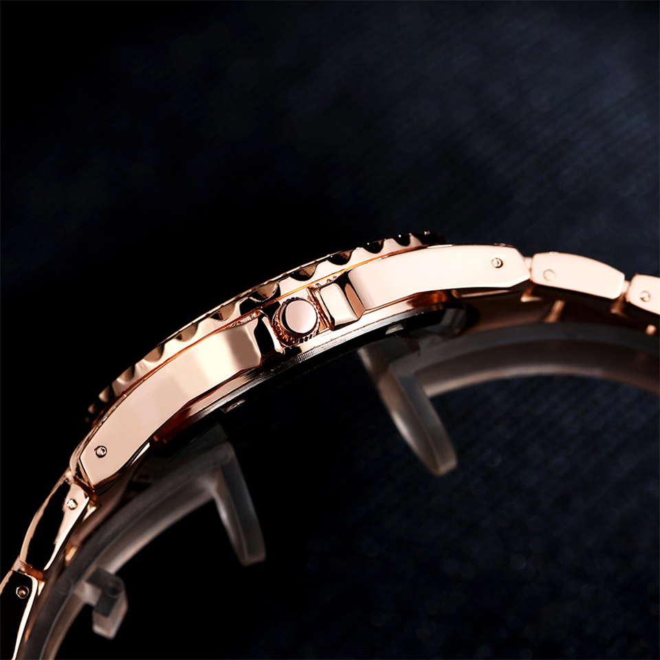 PUXU 2018 Brand New vintage Ladies Luxury Rose Gold Quartz Dress  Wristwatches Women Rhinestone Watches Steel Bling Diamond-in Women s Watches  from Watches ... fa5b42fd3196