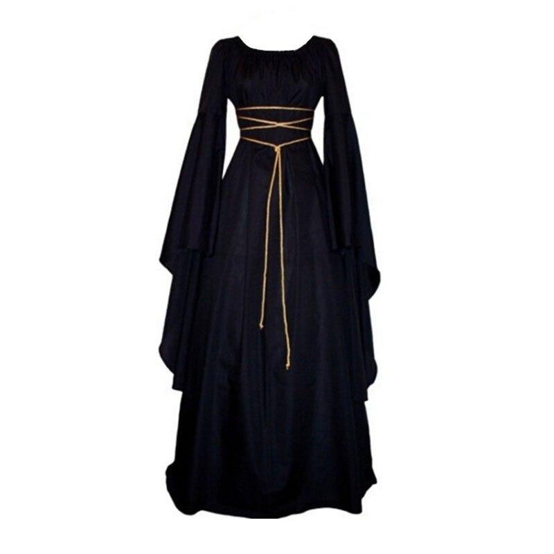 926c23bb8c23bad Женское модное Бандажное длинное платье, женские крестьянские платья  средневекового Ренессанса, винтажное платье с длинными
